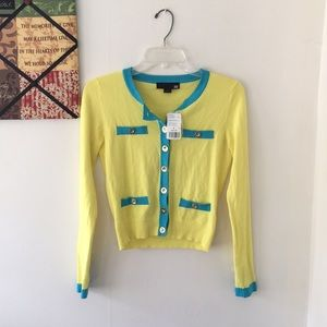 Funky color combo button up cardigan